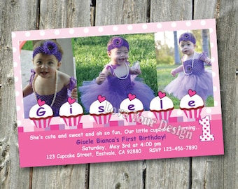 Cupcakes Birthday invitation with 3 photos- hot pink cupcake YOU PRINT