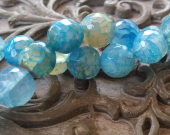 Agate Multi Blue Round Faceted, 8mm Gemstone Beads 15pcs half strand