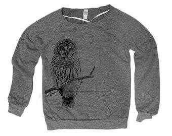 OWL Hand Screen Print Alternative Apparel Eco-Fleece Maniac Sweatshirt S,M,L,Xl 2 Colors