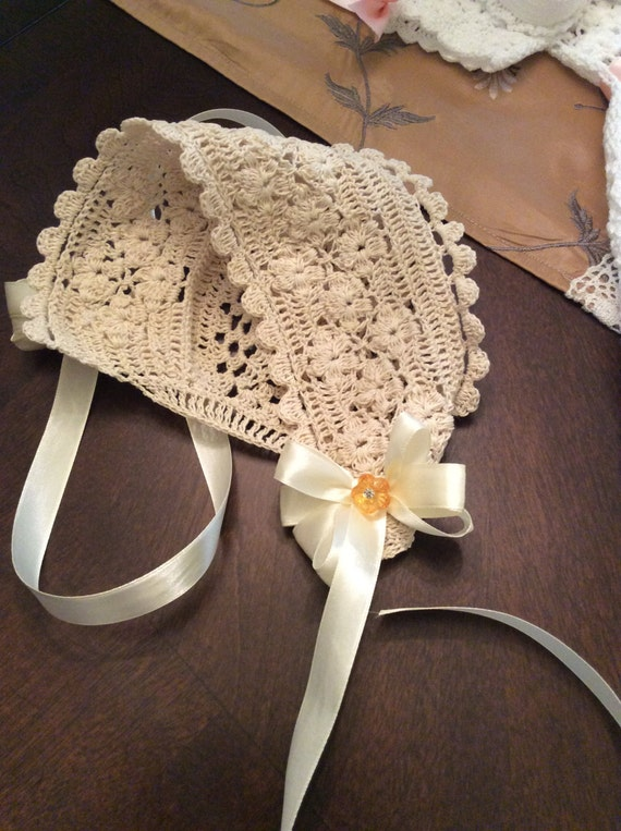 Field Of Flowers Crochet Christening Bonnet Pdf Pattern Baby
