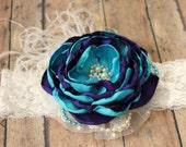 Dark Purple and Turquoise Headband, Large Flower Hair Piece, Oversized Headband, Baby Girl Photo Prop, Flower Girl Hair Accessory