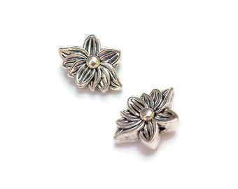 12 Lotus Blossom beads, Flat Flower Spacers Antique Silver beads13mmx9mm with 1 mm Hole