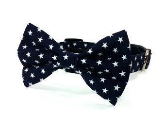Navy blue and white stars dog bow tie collar set & cat bow tie collar set - adjustable with bell (optional)