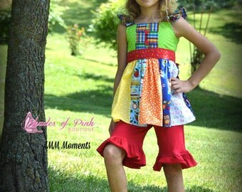 Girls and Toddlers Huckleberry flutter tunic Back to School size 2-12