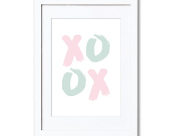 "XOXO (mint & pink), A4 8x10"" A3 or 11x14"", printed"