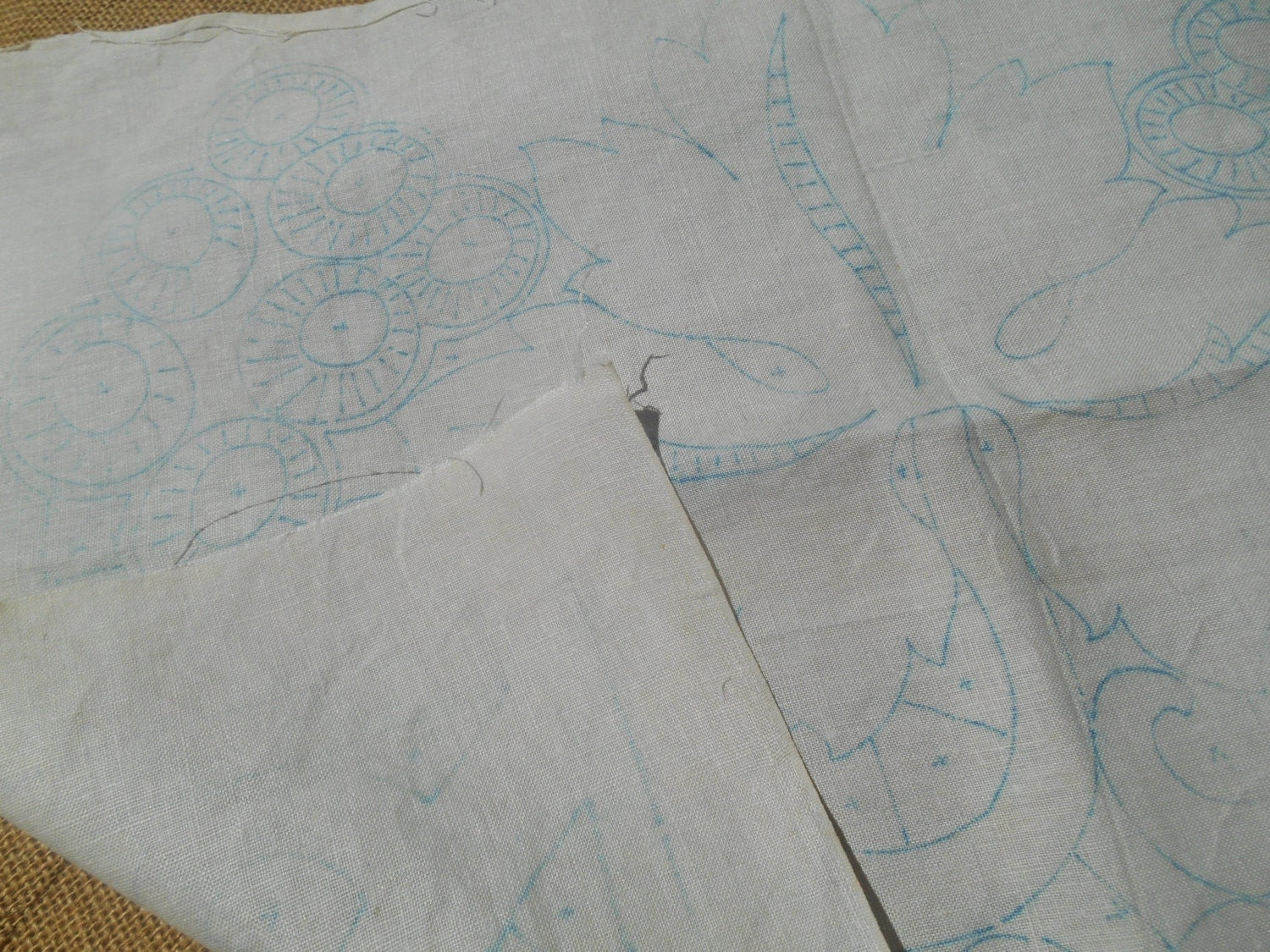 Antique embroidery pattern linen french fabric leaf printed