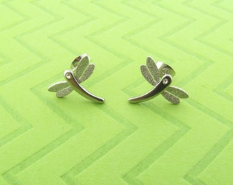 satin finish stainless steel dragonfly post earings