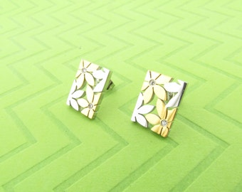 gold plated stainless steel posts earings. 3/4 inch long
