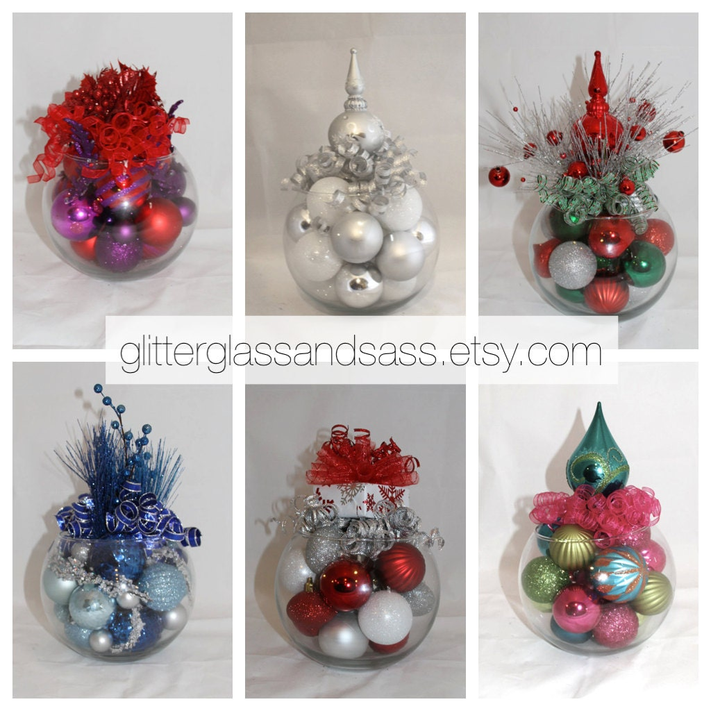 Christmas centerpiece white blue and by glitterglassandsass