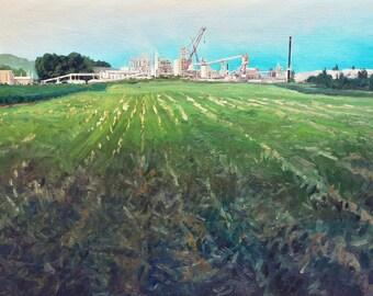 """Pleasant Gap Limeplant, Original 36x24"""" Oil Landscape Painting, Central Pennsylvania Series, Natural Industrial Landscape Artwork, Fine Art"""