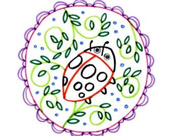 Ladybug Lady Bug Embroidery Pattern Printable Digital Downloadable Hand Embroidery 0072