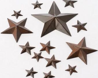 Rustic Tin Stars 14 Piece Assortment Package Of Mini Tin Stars Shabby Rustic Wedding