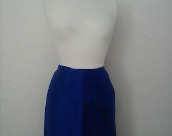 Vintage 80's bright blue silk maxi skirt