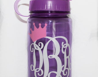 Personalized Girls Princess Crown Monogrammed Water Bottles - Custom - Birthday - Gift Idea - Party Favor - Travel - Lunch - School - Sports