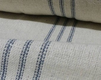 Grain Sack Fabric By The Yard - 9 Blue Stripe BACK ORDERED Until September 15th