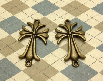 20pcs Antique Bronze Sideways Fleur De Lis Cross Charm Connector Pendant 23mmx40mm