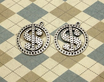 20 pcs of Antique Silver Dollar Money Symbol Charms 25mm