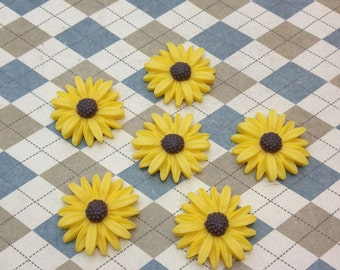 20pc yellow color resin Sunflower charms Flower Cabochons Resin Flowers 25mm