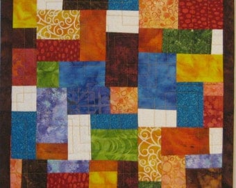 Art Quilt Mosaic Colorful Small, Quilted Wall Hanging, Abstract Quilt