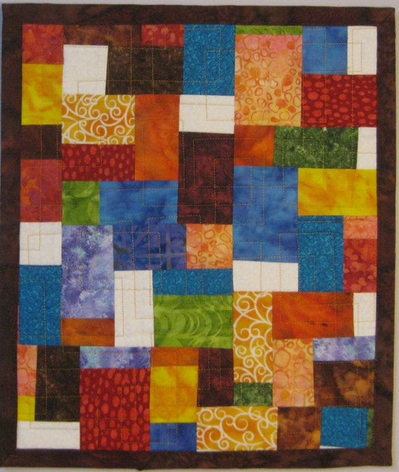 Art Quilt Mosaic Colorful Small, Quilted Wall Hanging