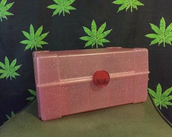 90s Pink Sparkle Plastic Train Case