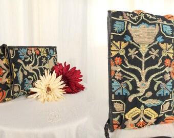 Vintage Needlepoint Handbag - 1960s Tapestry Purse, Needlepoint Boho Clutch, Large Novelty Handbag, Art Nouveau Floral Bag