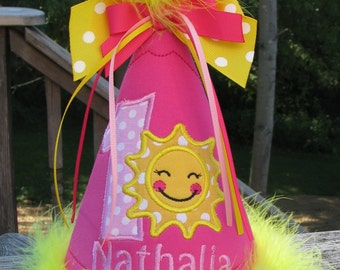 you are my sunshine  birthday hat, 1st birthday hat, Party hat,smash cake hat. sunshine birhtday