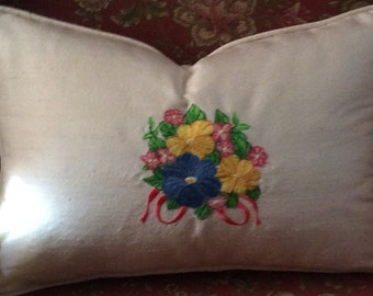 Silk embroidered pillow cover 14x18""