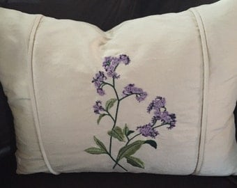 Silk embroidered 14x18in pillow cover