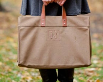 Monogrammed Leather Canvas Tote Bag Leather Handles Utility Beach Teacher Travel