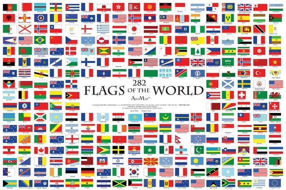 282 flags of the world wall map poster sciox Choice Image