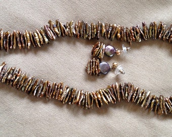 Brown Fresh Water Flat Pearl Necklace & matching earrings