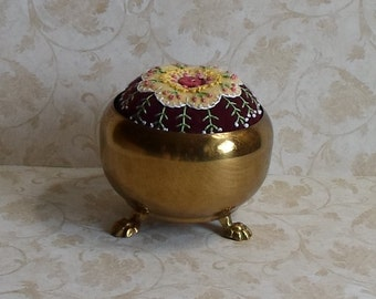 Handmade Pincushion in Brass Container Felted Wool Soft Yellow Blossom