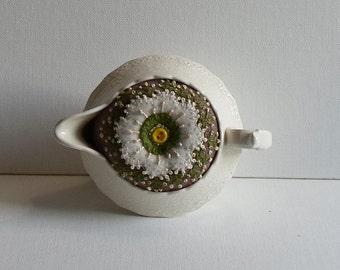 Handmade Pincushion Felted Wool Cream Floral in a Spode's Jewel Copeland Creamer