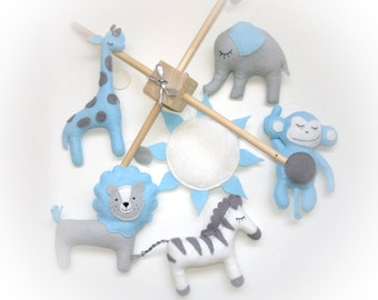 Baby mobile, baby crib mobile, Safari Mobile, Animal mobile, Elephant mobile, lion, giraffe, sun, baby shower gift