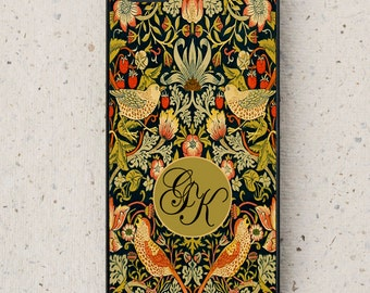 iPhone Cover(all models) - smartphone - Mobile - William Morris Illustration - Initials - Personalised - Samsung Galaxy & other models