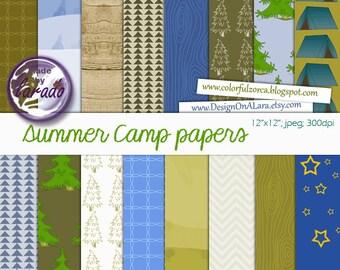 Camping Digital Papers, Summer Camp Digital Papers, Camping Papers Pack, Nature digital paper, camping party digital scrapbooking papers