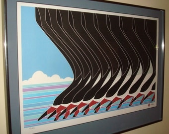 Ikki Matsumoto Signed and Numbered Lithograph of Flock of Black Skimmers -Framed
