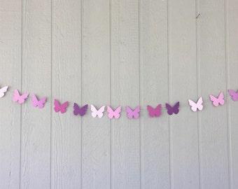 BUTTERFLY Garland, 10 feet - Shades of Purple - Birthdays, Showers, Weddings, Photo Prop