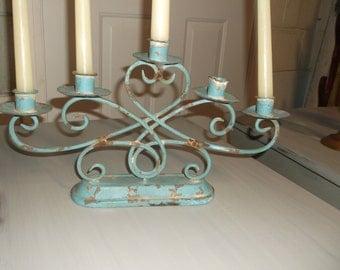 Vintage Metal Teal Candelabra Rustic Candelabra Estate Sale Chippy Candleholder Wedding Candelabra
