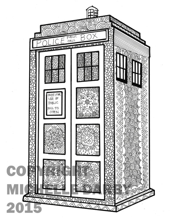 the tardis zen colouring page - Tardis Coloring Page