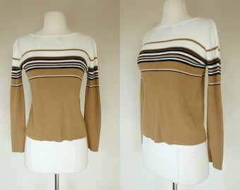 1980's striped sweater, acrylic knit brown sweater with white and black stripes, Small, US 6