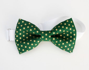 Christmas bow tie - Green and Gold Polka dots Bow-tie - baby bow tie - kids bow tie - adult bow tie - adjustable neck strap