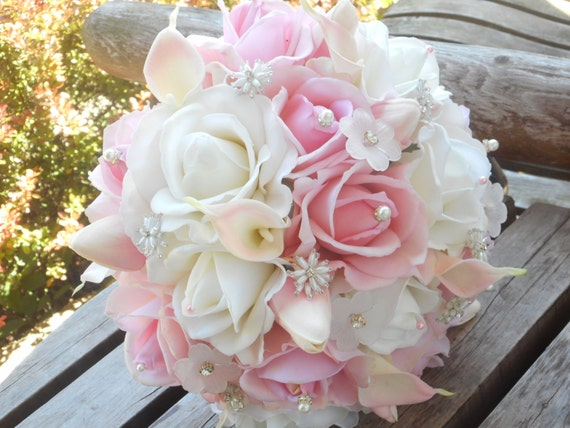 ... Chic Silk Bridal Bouquet w/ Grooms Boutonniere / Silk Wedding Flowers
