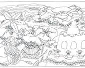 Printable Beach Seashells Scene Coloring Page