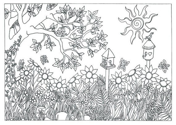 items similar to printable garden nature scene coloring page coloring for adults on etsy. Black Bedroom Furniture Sets. Home Design Ideas