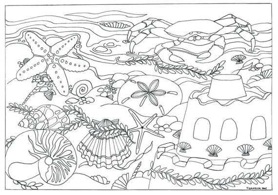 items similar to printable beach seashells scene coloring page coloring for adults on etsy