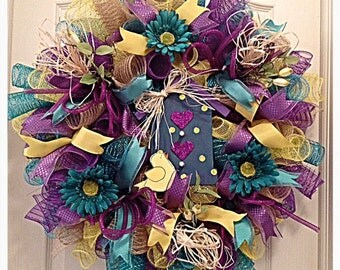 Birdhouse Teal, Yellow and Purple Deco Mesh Wreath/Birdhouse Wreath/Purple, Teal and Yellow Wreath/Spring Wreath/Summer Wreath