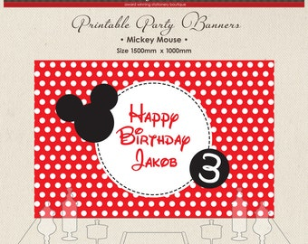 Printable Party Banner Buffet Candy Dessert Table Mickey Mouse Bow Red Polka Dots