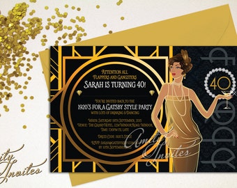 Printable Invitation birthday Great Gatsby Gold Gangster and Flappers 1920's invite 30th 40th 50th Amity Invites